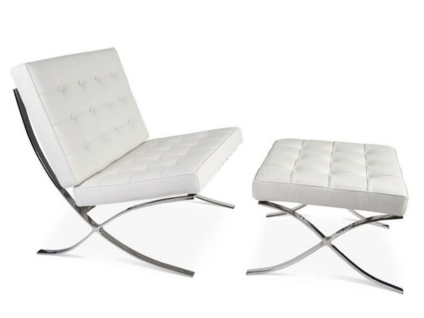 Barcelona chair and ottoman - White
