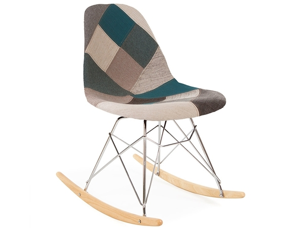 Eames rocking chair RSR - Blue patchwork